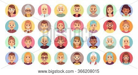 People Cartoon Avatars. Diversity Of Office Workers Flat Character And Avatar Portraits, Vector Face