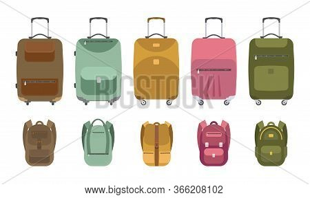 A Collection Of Luggage Icons For Travel. Bags, Tourist Suitcase, Luggage, Backpack. Vector Illustra