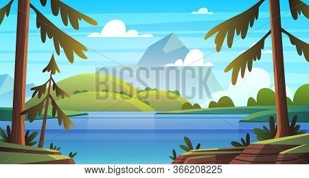 Summer Sea Landscape. Ocean Seashore Panorama, Bay With Vegetation And Pine-trees, Summer Nature Sun