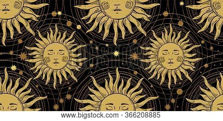 Seamless Pattern With The Golden Sun On A Black Background, Galaxies And Stars. Mystical Ornament In