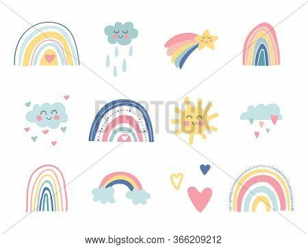 Cute Kids Nursery Collection. Hand Drawn Rainbows, Sun, Funny Clouds, Stars, Hearts. Sky Background.