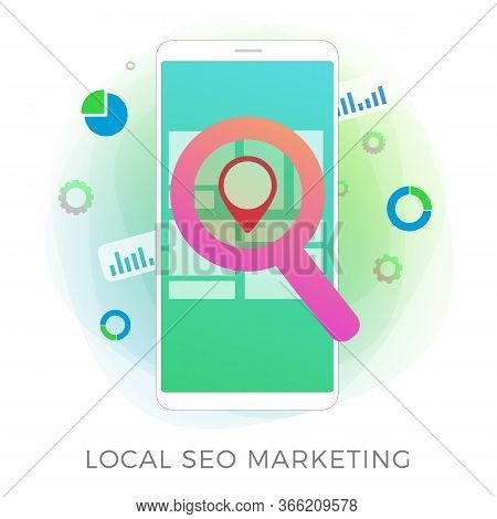 Local Seo Marketing Flat Vector Icon Concept. Search Engine Optimization Results Based On Regional A