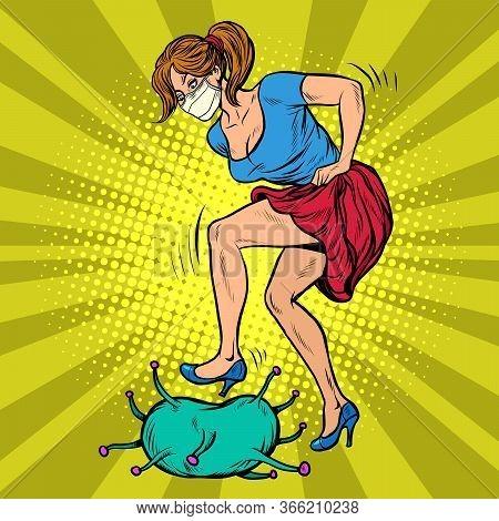 Woman Beats Up Coronavirus. Pop Art Retro Vector Illustration 50s 60s Style