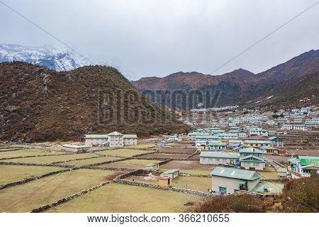Khunde Village. Nepal Landscape, Sagarmatha National Park