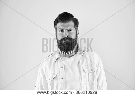 Hip And Stylish. Brutal Hipster With Clothespin Hearts. Bearded Man Casual Style Yellow Background.