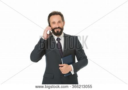 Phone Call. Businessman Talk On Mobile Phone. Bearded Man Use Cell Phone. Business Communication. 3g