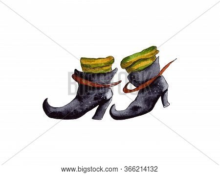 Hand-drawn Watercolor Illustration. Halloween Celebration, Holiday Attributes. Black Witch Boots, Fa