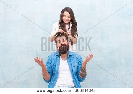 Fathers Day With Daughter At Home. Daughter Creating Fathers Hair. Handsome Father With Little Girl.