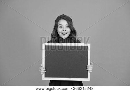 Online Education. Happy Child Hold School Blackboard. Education And Study. Compulsory Primary School