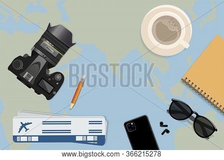 Travel Planning, Concept. Trip Plan. Planning Vacation, Search Place For Holiday. Vector Illustratio