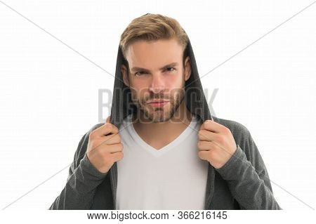 Hooded And Unshaven. Unshaven Guy Isolated On White. Unshaven Look Of Young Model. Handsome Man With