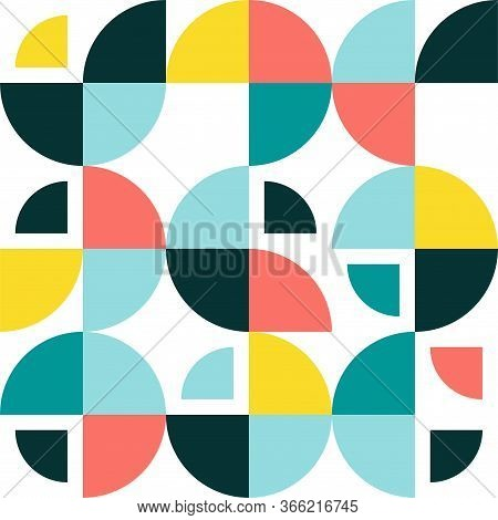 Swiss Modernism Geometric Round Shapes Background. Vector Seamless Pattern With Modern Swedish Geome