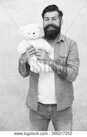 Bearded Male Casual Style. Man With Beard On Happy Face. Happy Birthday Party. Toy Shop Concept. Bru