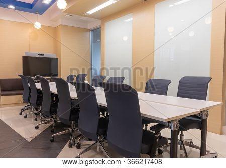 Indoor Empty Modern Boardroom, Meeting Office Room