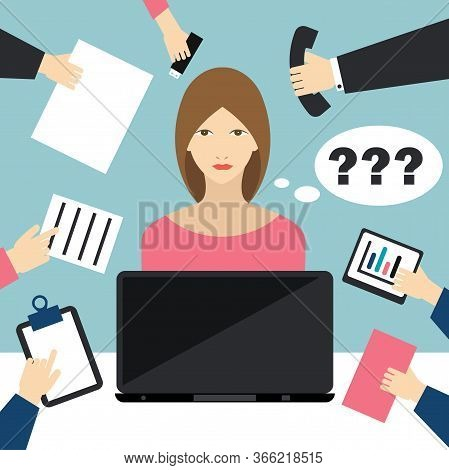 Busy Tired Multitasking Woman Clerk In Office, Home Office. Flat Vector Illustration.