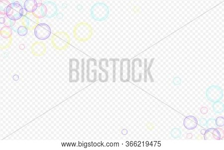 Rainbow Soapy Ball Isolated Transparent Background. Effect 3d Circle Card. Blue Air Soapy Background