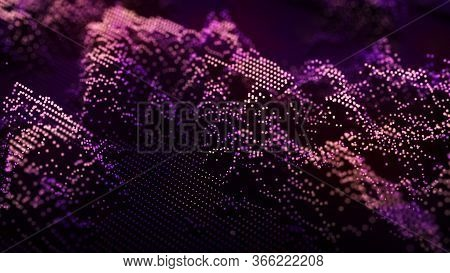 Abstract Wave Of Many Points. Futuristic Background Illustration. Shining Dust Particles. 3D Renderi