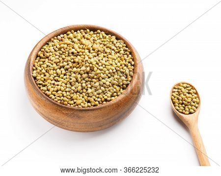 Spice Coriander (coriandrum Sativum) Seeds In Wooden Bowl And Spoon Isolated On White Background. Di