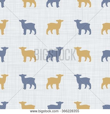 Seamless French Farmhouse Lamb Silhouette Pattern. Farmhouse Linen Shabby Chic Style. Hand Drawn Rus