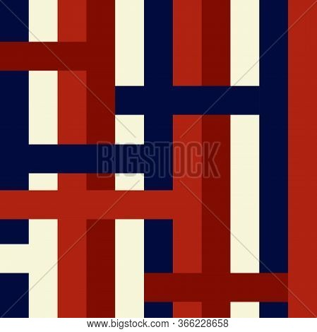 Seamless Vector Striped Pattern. Colored Stripes Ornament. Wicker Blue, Red, White Lines. Stylish Co