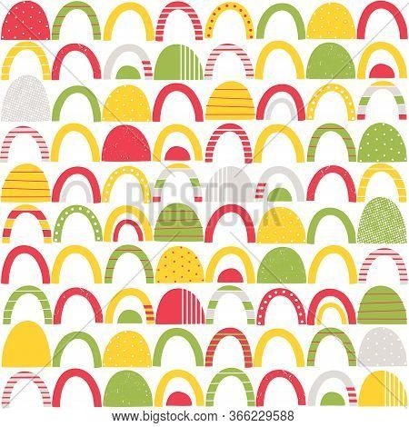 Colorful Red, Green, Yellow And Grey Abstract Shapes With Stripes, Dots And Distressed Patterns On W