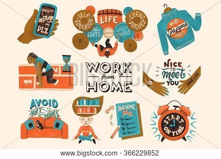 Set Of Illustrations About Freelance, Work From Home, Productivity And Multitasking