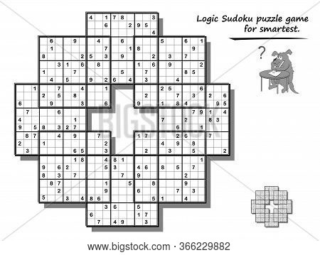 Logic Sudoku Game For Children And Adults. Big Size Puzzle With 8 Squares, Difficult Level. Printabl