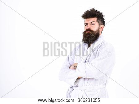 Man With Beard And Mustache Standing With Crossed Arms, Isolated On White Background. Macho In Bathr