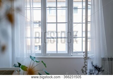 Sunny Day Through Window. Home Decor. Home Decor Window. Old Window In White Apartment Home Decor. S