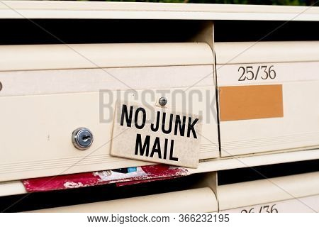 No Junk Mail Sign On Letter Boxes In Sydney, Australia