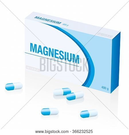 Magnesium Supplement Pills Box, A Medical Fake Product. Isolated Vector Illustration Over White Back
