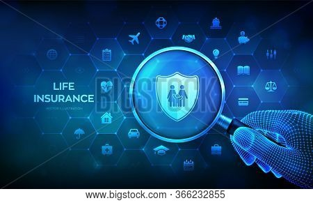 Life Insurance Concept With Magnifier In Hand. Family Protection. Insurance Policy Services. Magnify
