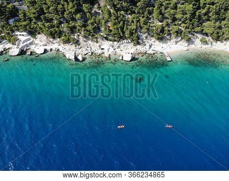 Sea Kayaking. Active Vacation In Croatia. Dalmatia Drone View - Croatia Aerial Coast Landscape Photo