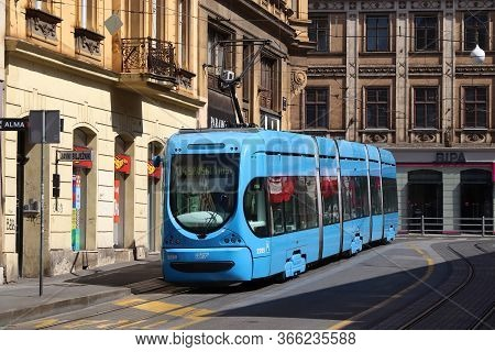 Zagreb, Croatia - June 30, 2019: Public Transportation Blue Electric Tram In Zagreb, Capital City Of