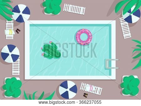 Top View Square Pool Flat Color Vector Illustration. Air Mattresses To Float On Water. Hotel Resort.