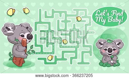 Lets Find My Baby Green Labyrinth With Cartoon Character Template. Australian Animal Find Path Maze