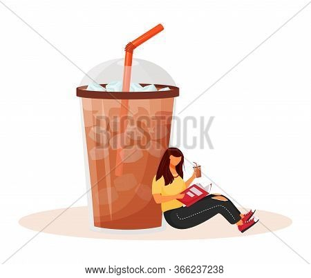 Iced Americano Flat Concept Vector Illustration. Summer Coffeehouse Menu. Frozen Coffee Drink. Sweet