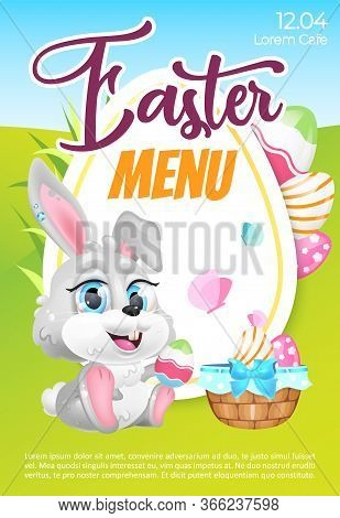Easter Menu Poster Flat Vector Template. Pascha Brunch Invitation. Brochure, Booklet One Page Concep