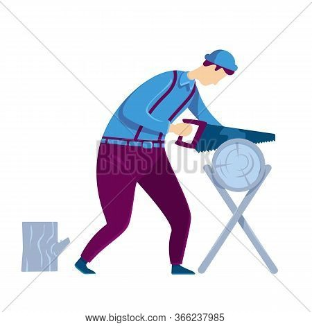 Carpenter Flat Color Vector Faceless Character. Man Hand Sawing Tree Trunk. Craftsman With Timber. L