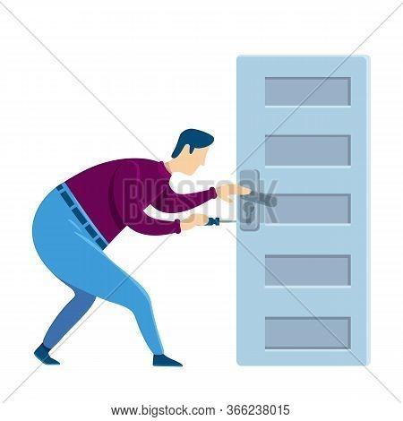Door Knob Fixing Flat Color Vector Faceless Character. Handyman Fixes Loose Handle. Home Maintenance
