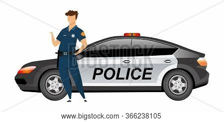 Policeman Standing By Patrol Car Flat Color Vector Faceless Character. Police Officer In Uniform Iso