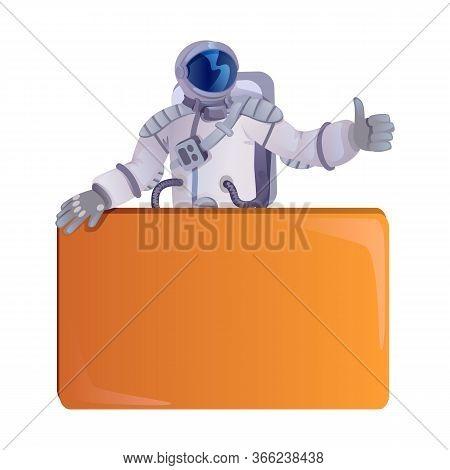 Astronaut Flat Cartoon Vector Illustration. Spaceman, Cosmonaut Holding Empty Banner. Ready To Use 2