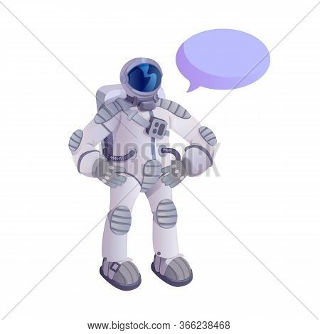 Spaceman In Spacesuit Flat Cartoon Vector Illustration. Universe Explorer. Ready To Use 2d Character