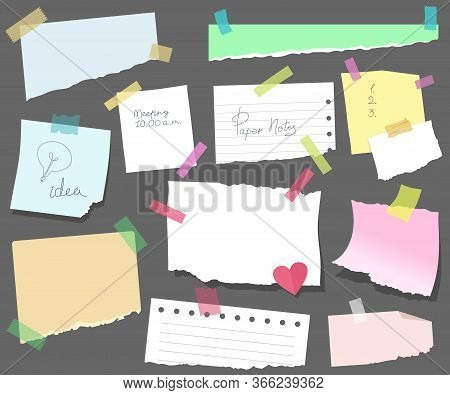 Sticky Notes On Paper, Torn Sheets With Meeting Reminders, A Memorable Date, Or Notes. Blank Vector