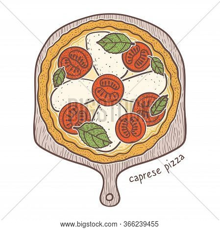 Caprese Pizza With Tomato And Mozzarella And Basil, Sketching Illustration
