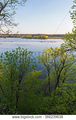 Overlooking Mississippi River From Bluffs Of Spring Lake Regional Park Near Hastings Minnesota