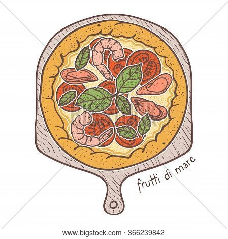 Frutti Di Mare Pizza With Seafood, Sketching Illustration