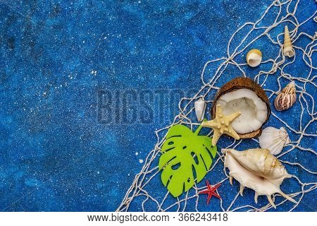Seashells Summer Background. Lots Of Different Seashells Piled Together, Sea Stars, Fishing Net