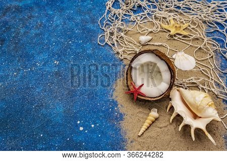 Seashells Summer Background. Lots Of Different Seashells Piled Together, Sea Star