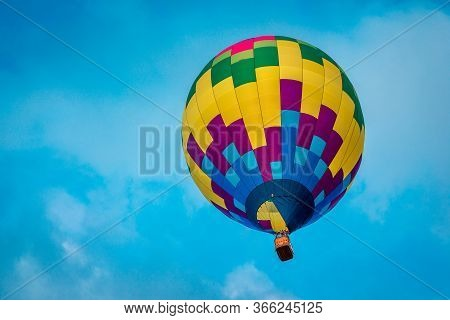 Close Up Shot Of Hot Air Balloon Flying In The Sky At An Airshow In Michigan
